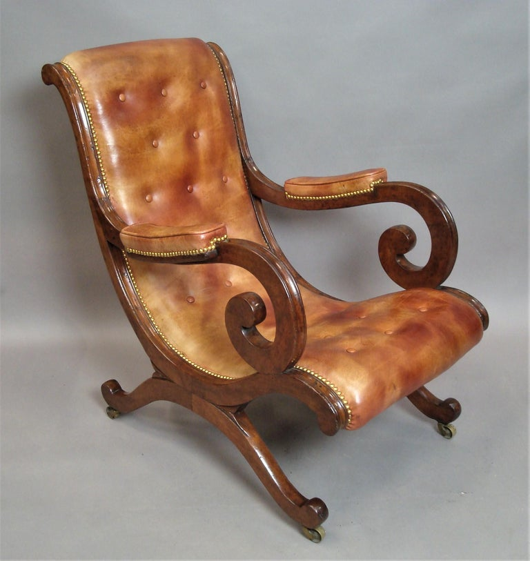 Regency Mahogany and Leather Library Chair 3