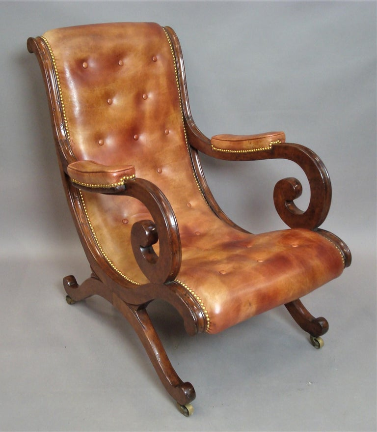 Regency Mahogany and Leather Library Chair 4