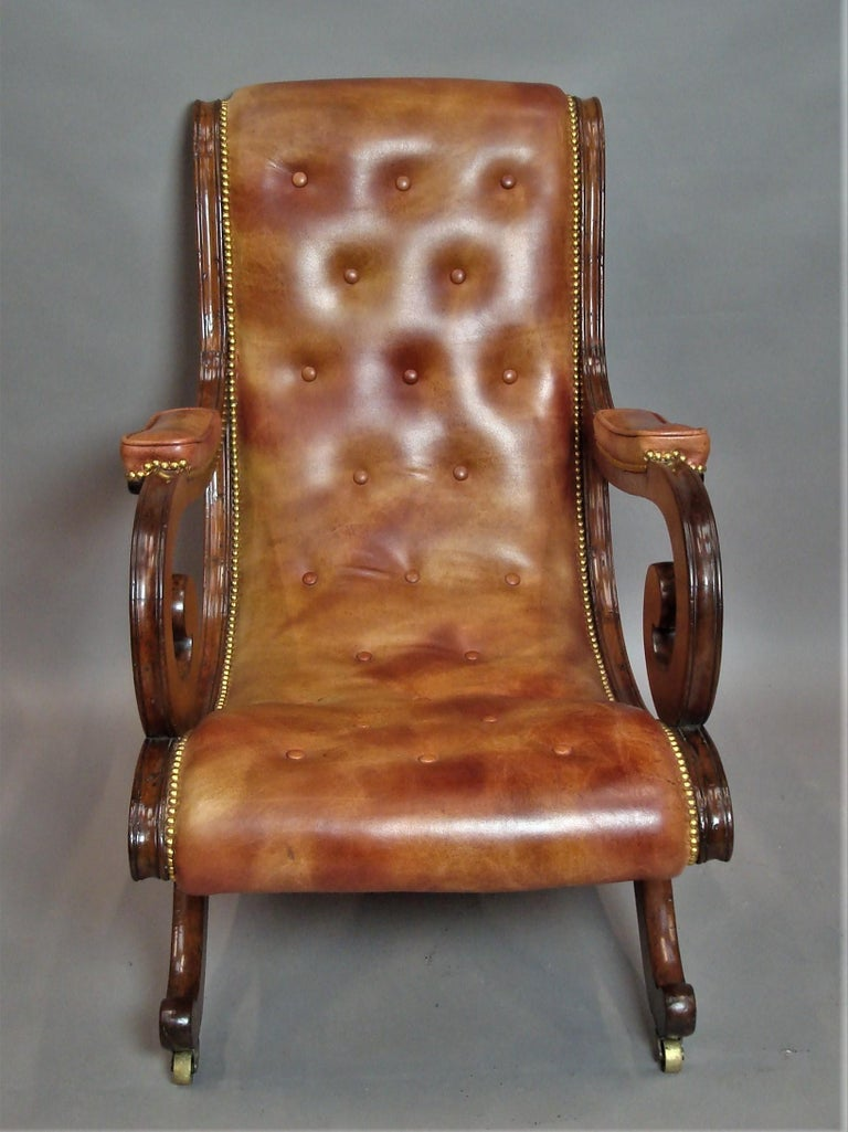 Regency Mahogany and Leather Library Chair 6