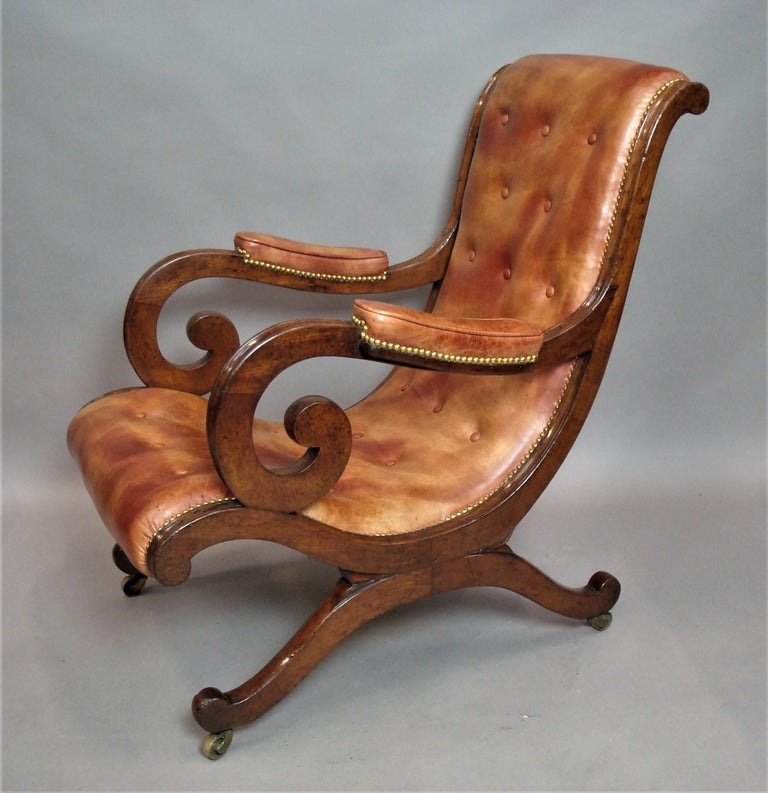 Regency Mahogany and Leather Library Chair 7