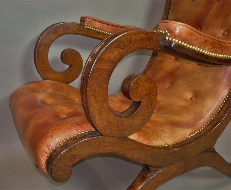 Regency Mahogany and Leather Library Chair 9