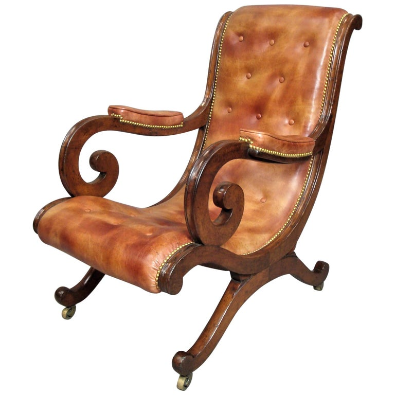 Regency Mahogany and Leather Library Chair 1