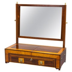 Regency Mahogany and Satinwood Dressing Mirror and Jewelry Case