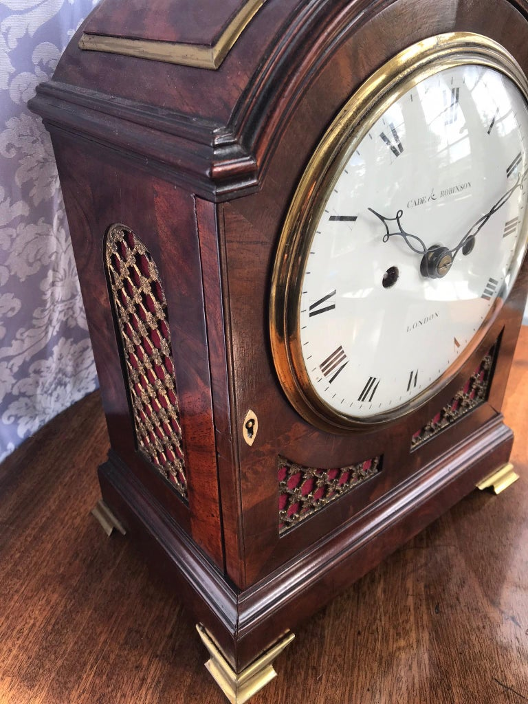 George III Regency Mahogany Arched-Top Bracket Clock by Cade & Robinson, London For Sale