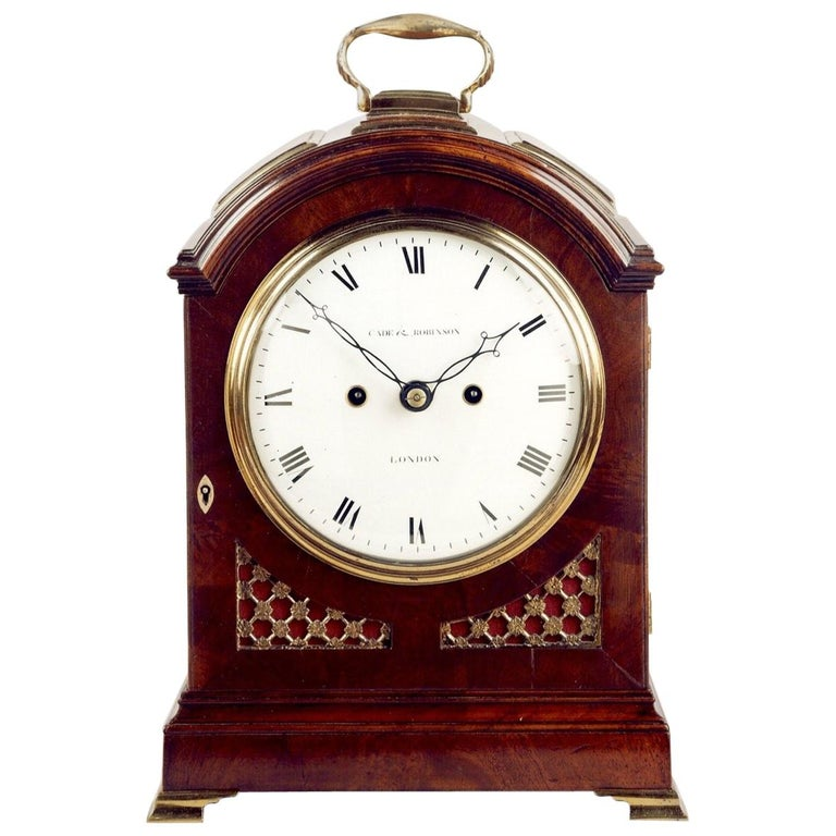 Regency Mahogany Arched-Top Bracket Clock by Cade & Robinson, London For Sale