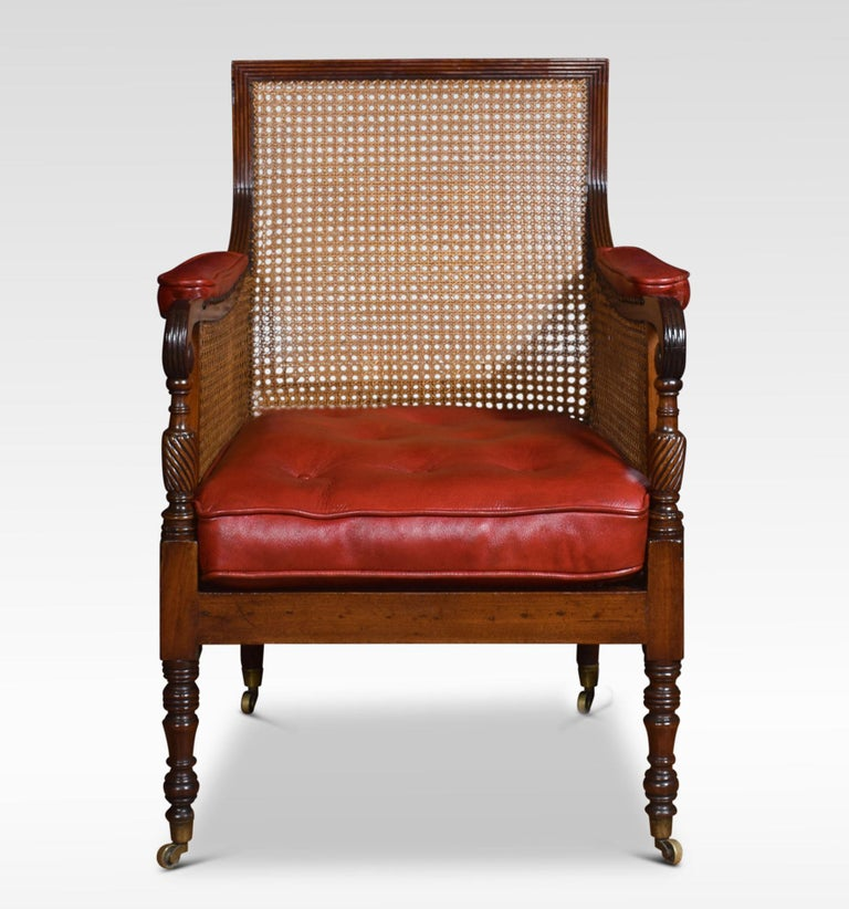 Regency Mahogany Bergere Armchair For Sale at 1stdibs