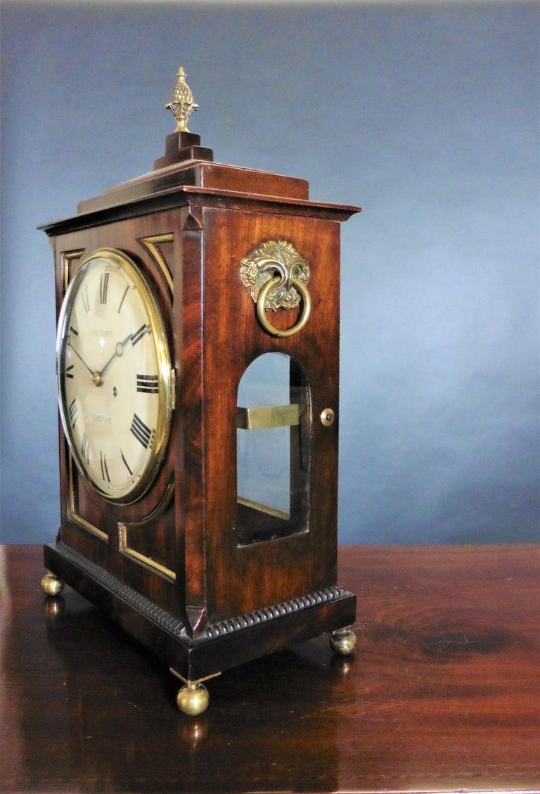British Regency Mahogany Bracket Clock by John Garth, Harrogate For Sale