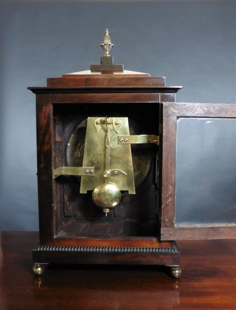 19th Century Regency Mahogany Bracket Clock by John Garth, Harrogate For Sale