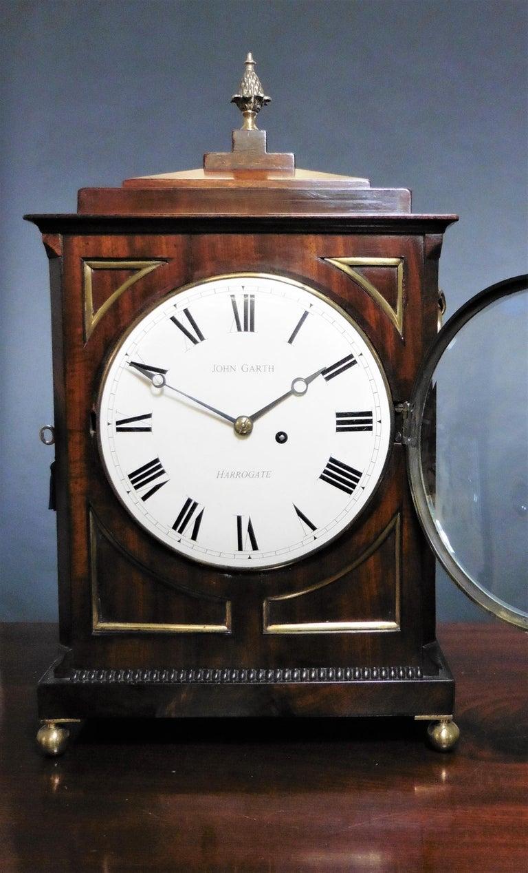 Regency Mahogany Bracket Clock by John Garth, Harrogate For Sale 1