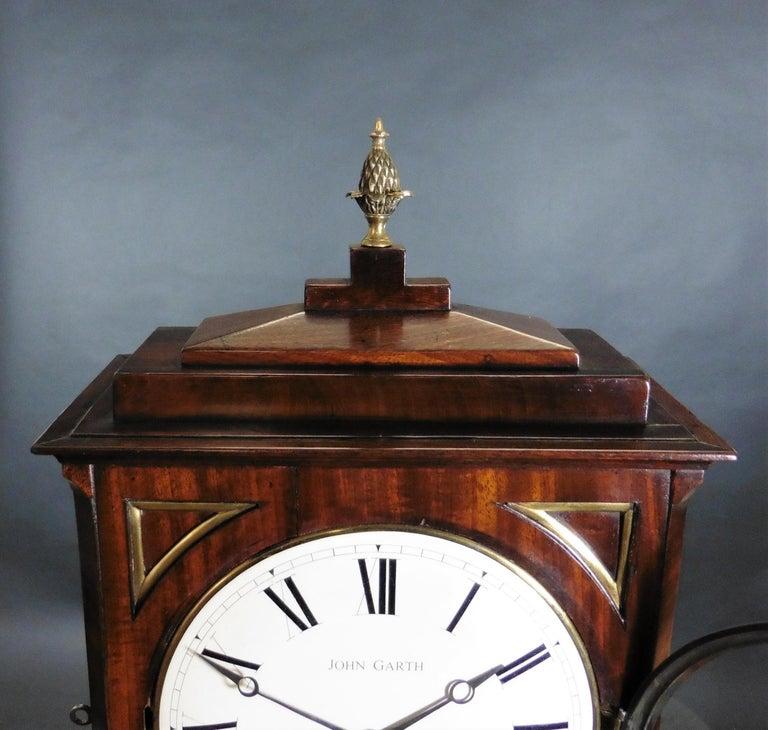 Regency Mahogany Bracket Clock by John Garth, Harrogate For Sale 3