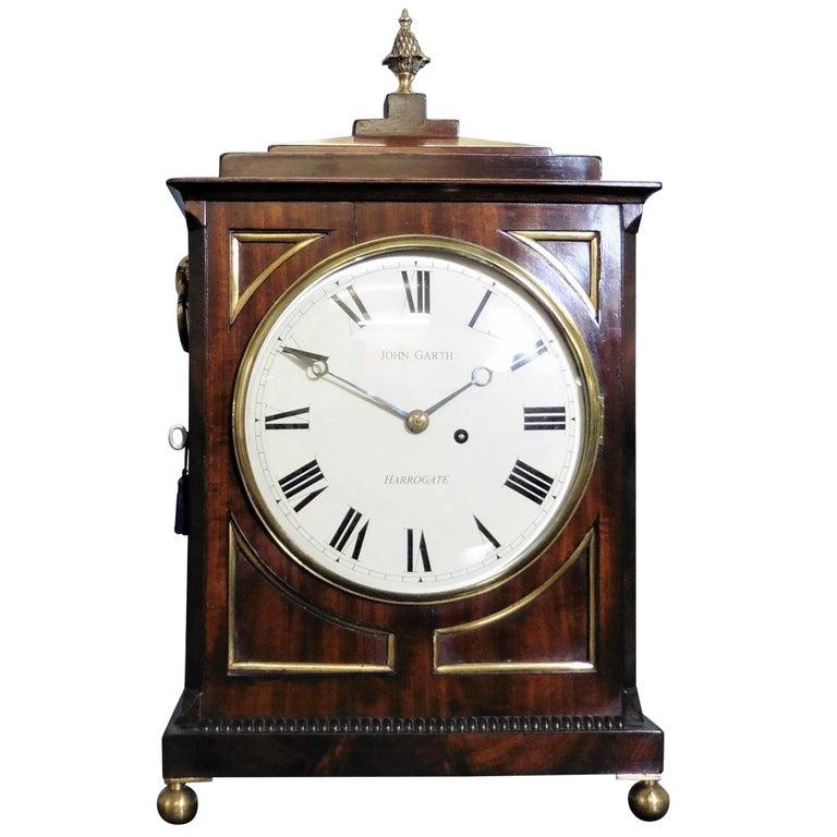 Regency Mahogany Bracket Clock by John Garth, Harrogate For Sale