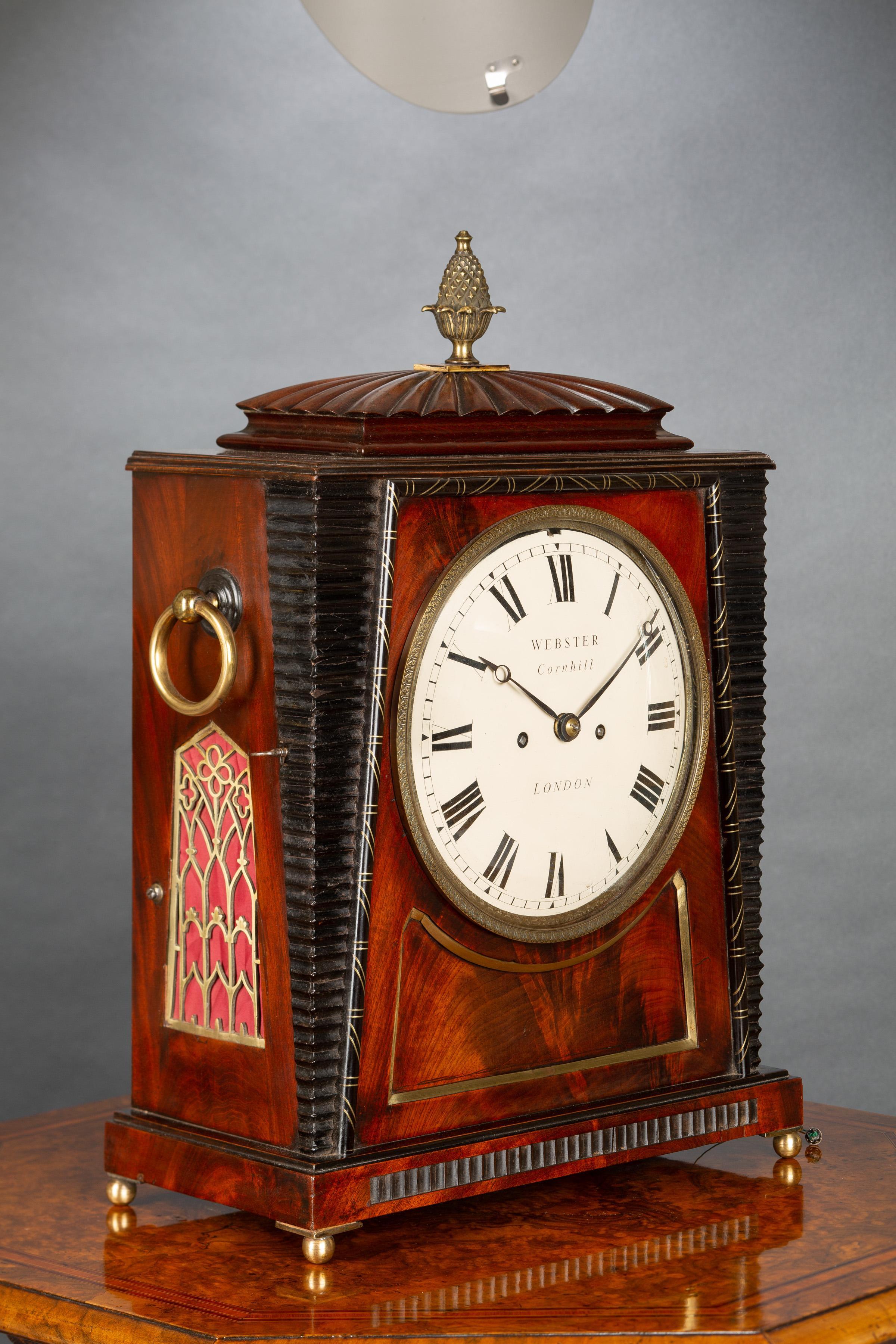 Regency Mahogany Bracket Clock by Richard Webster, Cornhill