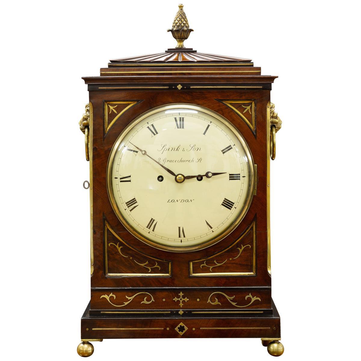 Regency Mahogany Bracket Clock by Spink & Son, London