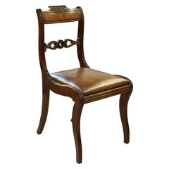 Regency Mahogany Chair with Leather Upholstered Seat, circa 1830