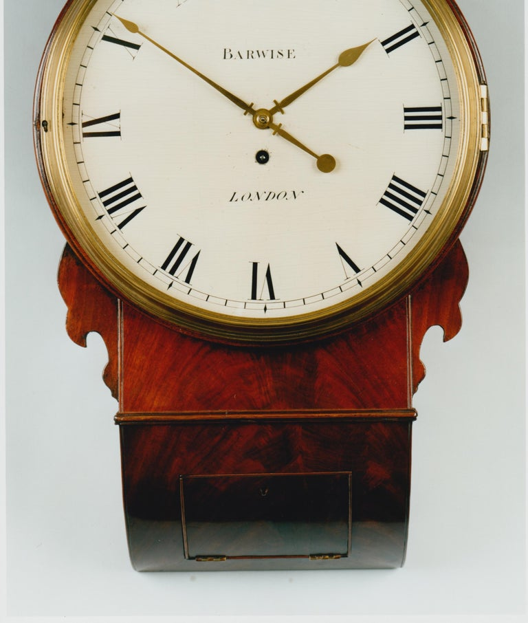 Regency mahogany drop dial wall timepiece by Barwise, London