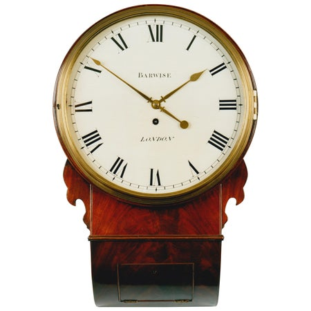 19th Century Antique Regency Mahogany Drop Dial Wall Clock by Barwise of London