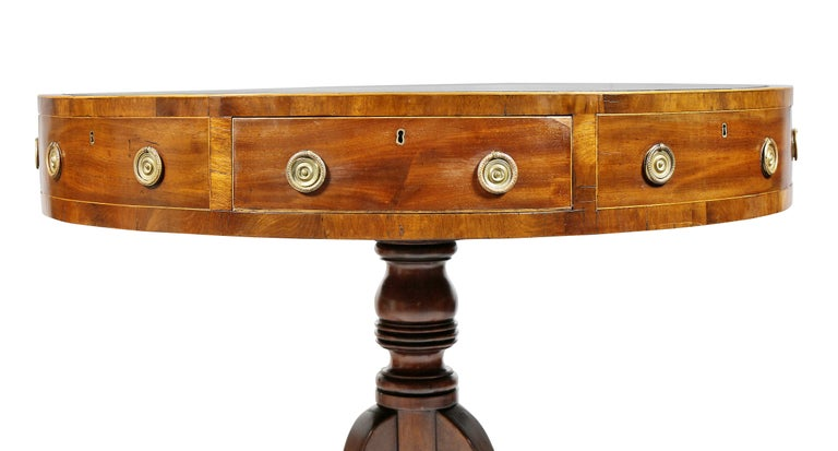 19th Century Regency Mahogany Drum Table For Sale