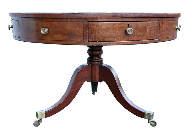 Regency Mahogany Drum Table For Sale 1