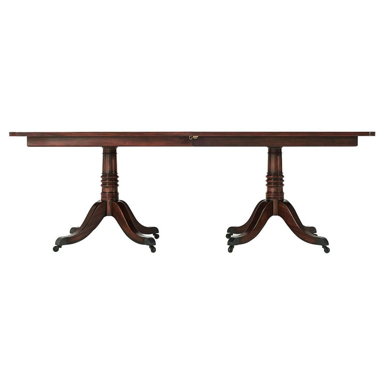 European Regency Mahogany Extending Dining Table For Sale