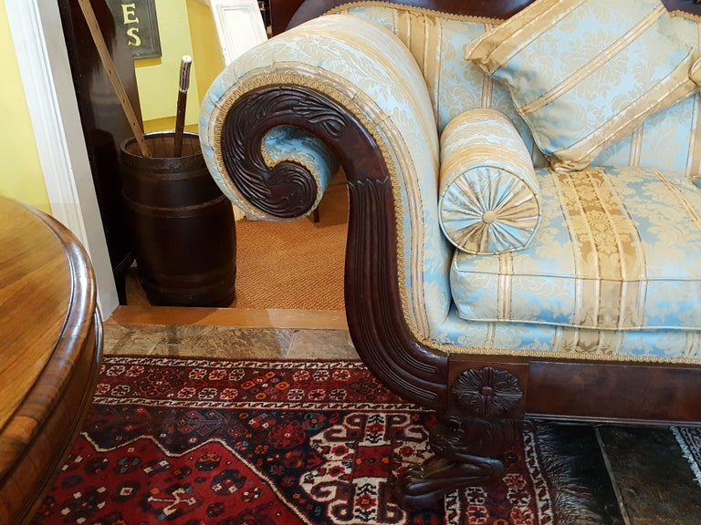 Irish Regency Mahogany Framed Sofa For Sale
