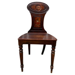 Regency Mahogany Hall Chair with Armorial Crest