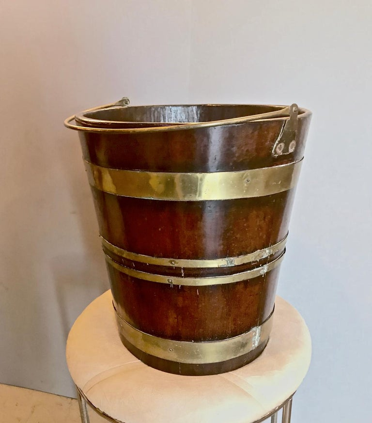 19th Century English Brass Bound Peat Bucket For Sale