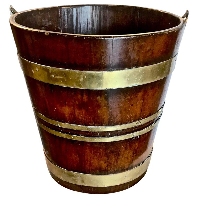 English Brass Bound Peat Bucket For Sale