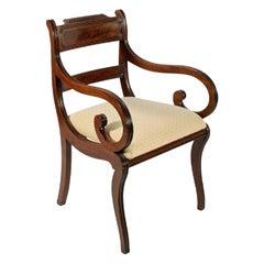 Regency Mahogany Sabre Leg Elbow Chair, 19th Century