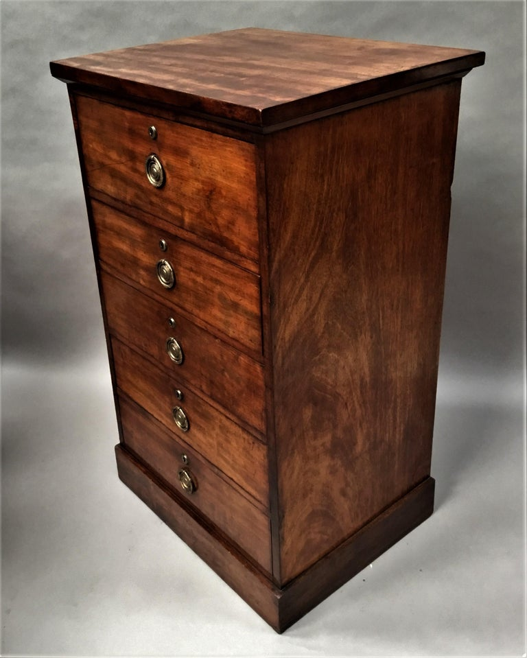 Regency Mahogany Secretaire Chest of Drawers Cabinet For Sale 8