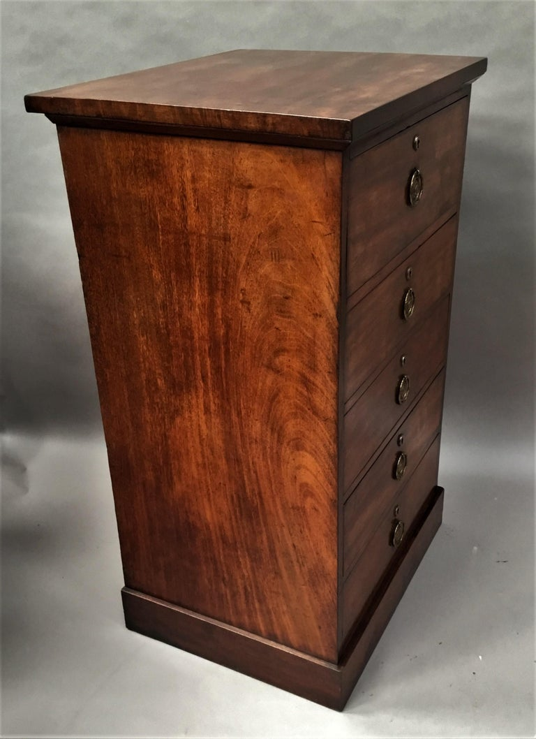 Regency Mahogany Secretaire Chest of Drawers Cabinet For Sale 10