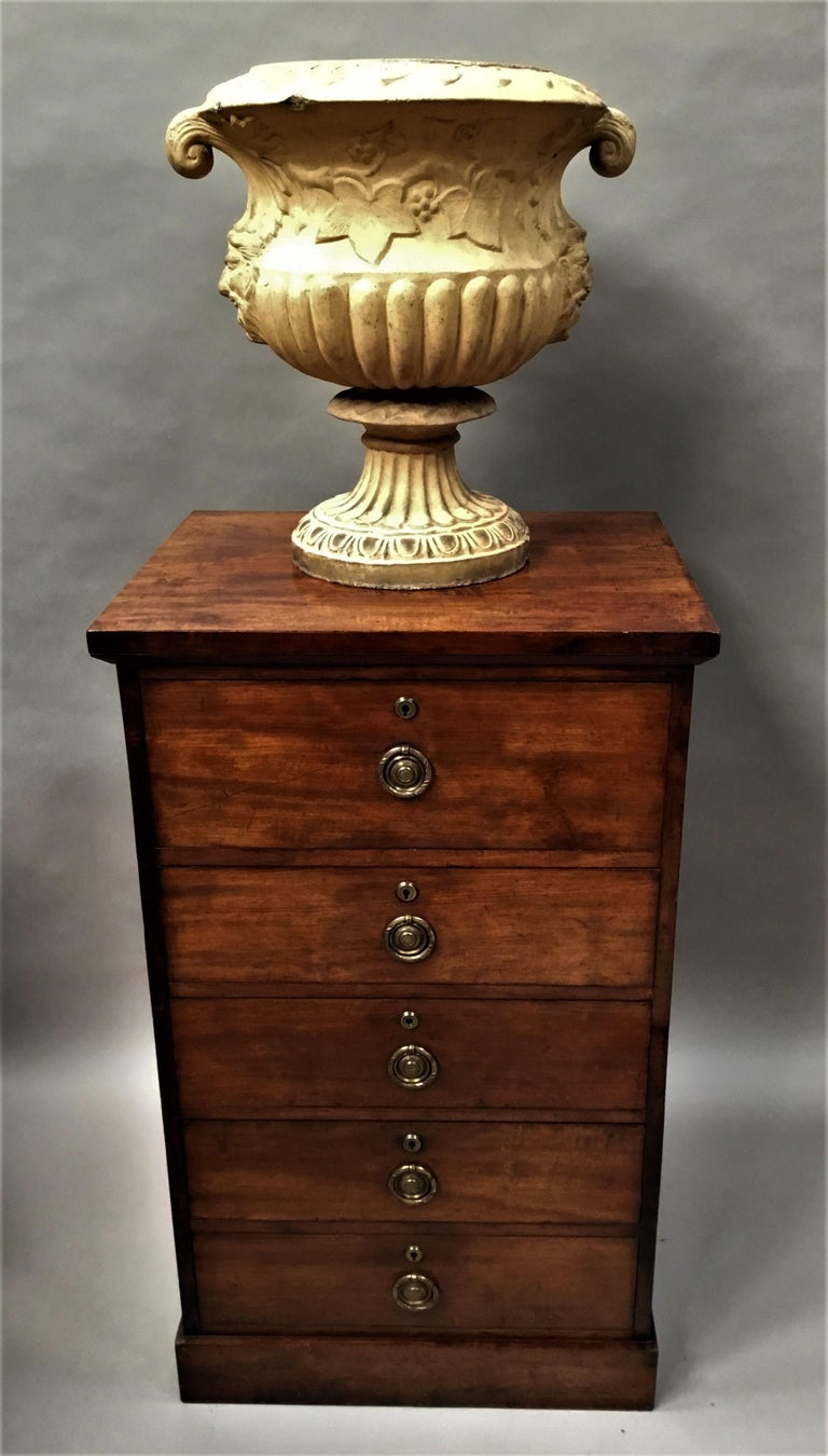 Regency Mahogany Secretaire Chest of Drawers Cabinet For Sale 3