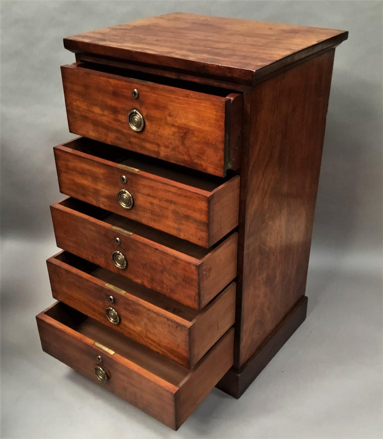 Regency Mahogany Secretaire Chest of Drawers Cabinet For Sale 4