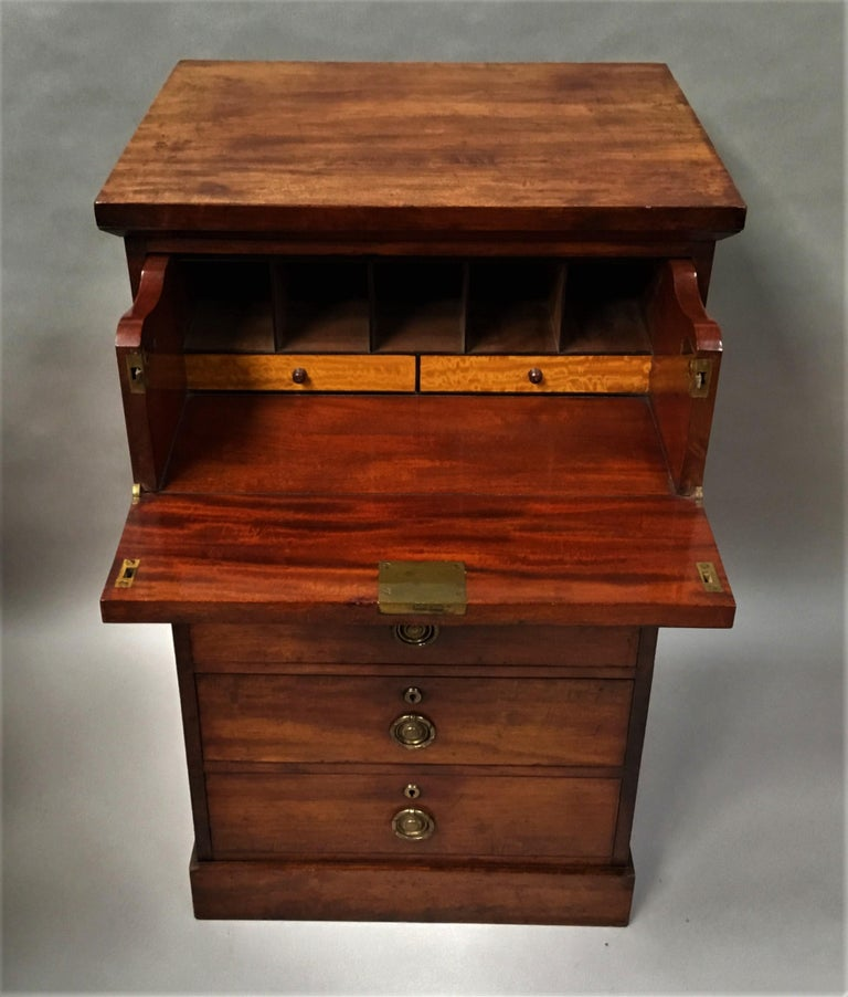 Regency Mahogany Secretaire Chest of Drawers Cabinet For Sale 5