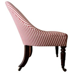 Regency Mahogany Slipper Chair in Red Stripe, Circa 1810