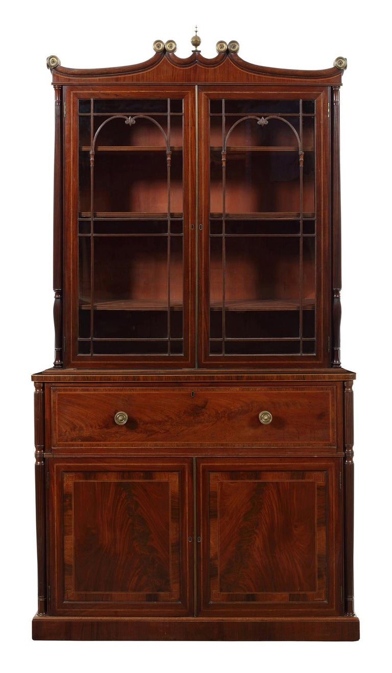 English Regency Mahogany, Tulipwood and Sycamore Banded Secretaire Bookcase For Sale
