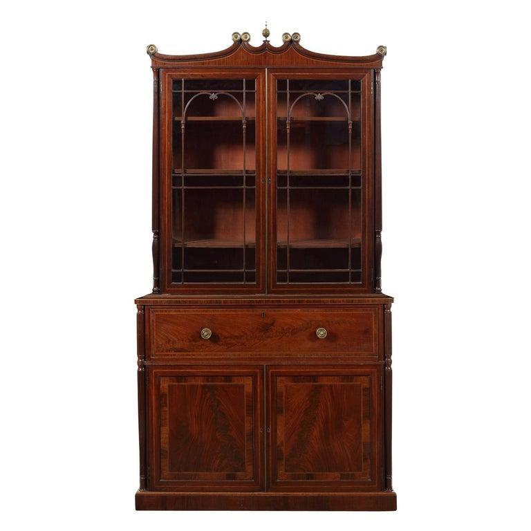 Regency Mahogany, Tulipwood and Sycamore Banded Secretaire Bookcase For Sale