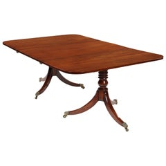19th Century Regency Mahogany Twin Pedestal Dining Table and Leaf