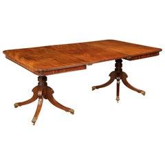 Mahagoni-Esstisch auf zwei Füßen im Regency-Stil