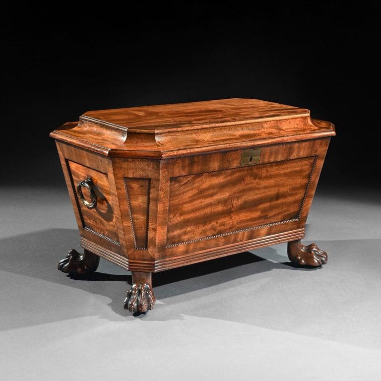 British Regency Mahogany Wine Cooler Cellarette of Sarcophagus Form For Sale