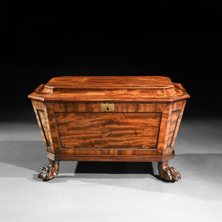19th Century Regency Mahogany Wine Cooler Cellarette of Sarcophagus Form For Sale