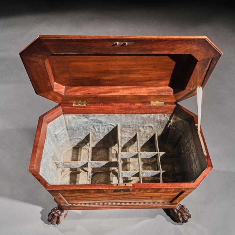 Regency Mahogany Wine Cooler Cellarette of Sarcophagus Form For Sale 2