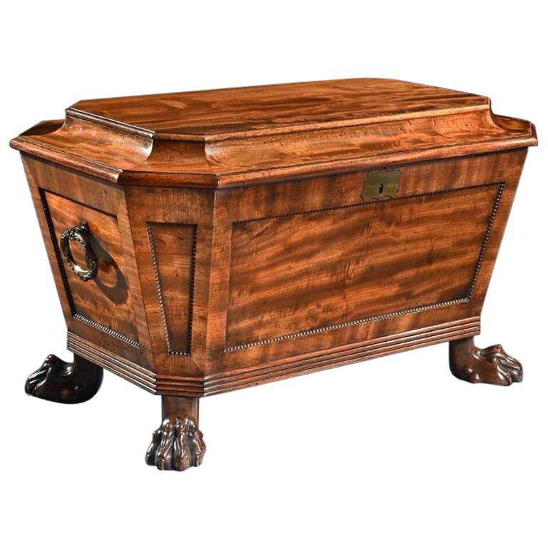 Regency Mahogany Wine Cooler Cellarette of Sarcophagus Form For Sale
