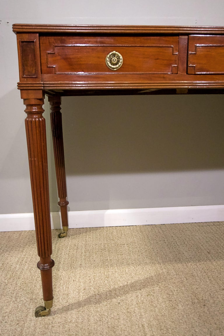 Brass Regency Mahogany Writing Table For Sale