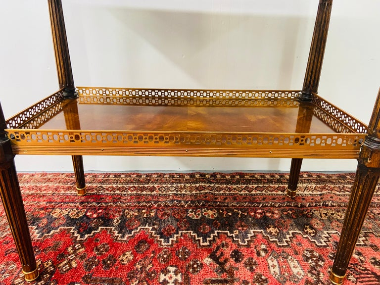 Regency Maitland Smith Brass Inlay on Mahogany Table with Side Extensions For Sale 5