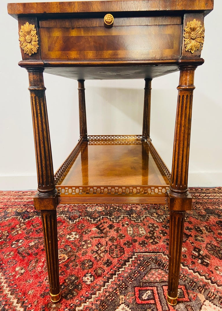 Regency Maitland Smith Brass Inlay on Mahogany Table with Side Extensions For Sale 6