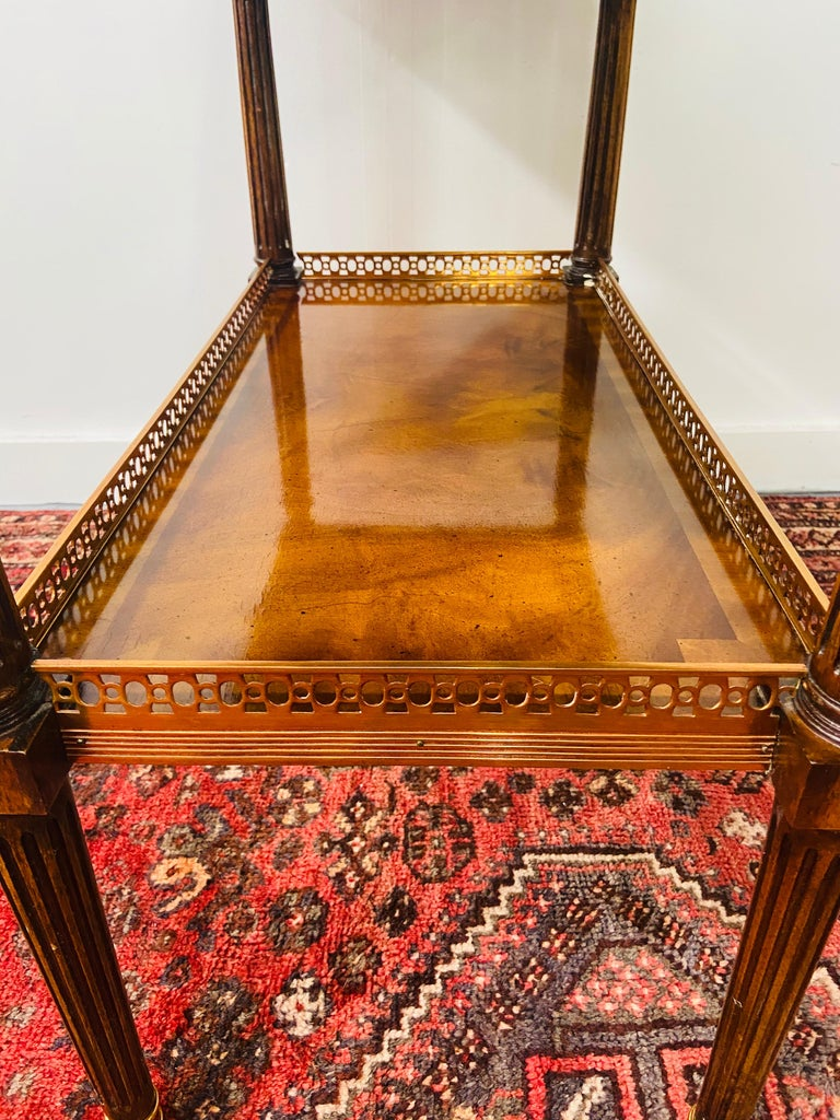 Regency Maitland Smith Brass Inlay on Mahogany Table with Side Extensions For Sale 7