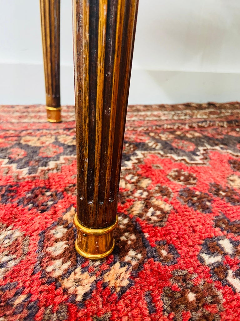 Regency Maitland Smith Brass Inlay on Mahogany Table with Side Extensions For Sale 9