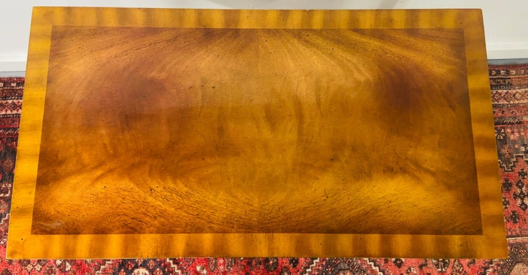 Philippine Regency Maitland Smith Brass Inlay on Mahogany Table with Side Extensions For Sale