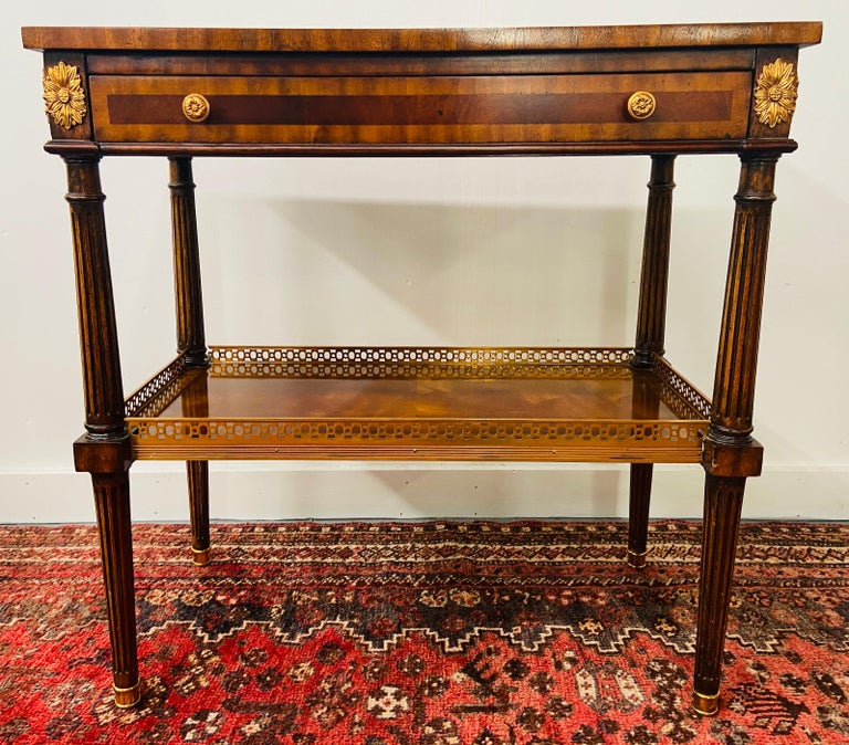 Late 20th Century Regency Maitland Smith Brass Inlay on Mahogany Table with Side Extensions For Sale