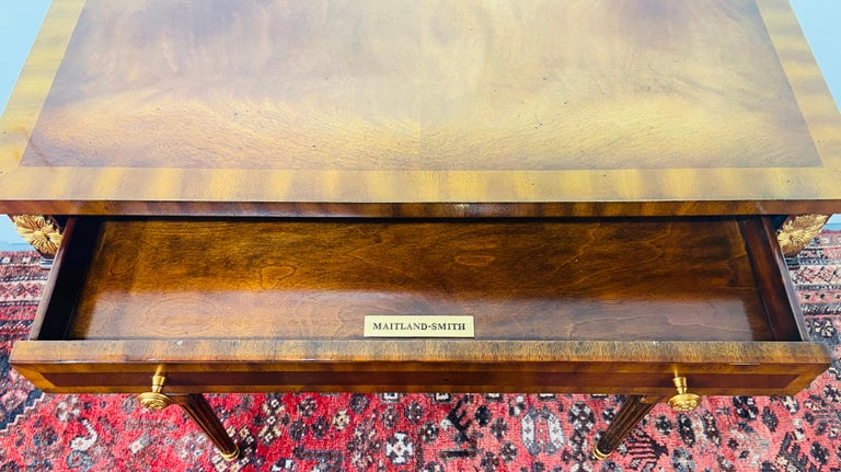Regency Maitland Smith Brass Inlay on Mahogany Table with Side Extensions For Sale 3